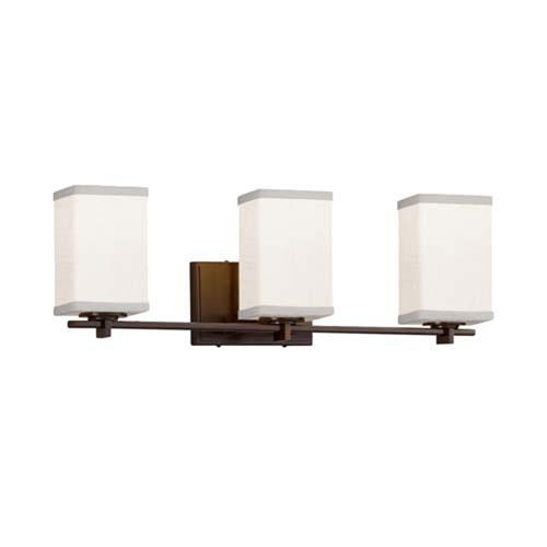 Textile - Era Dark Bronze Three-Light LED Bath Bar with Square Flat Rim White Shade
