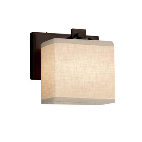 Textile - Era Dark Bronze LED LED Wall Sconce with Rectangle Cream Shade