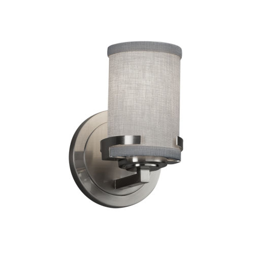 Textile Atlas Brushed Nickel and Gray One-Light Wall Sconce