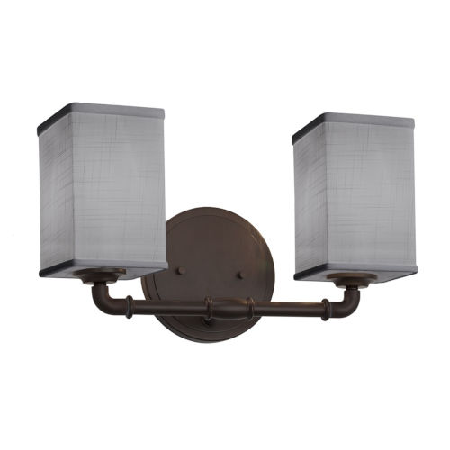 Textile Bronx Dark Bronze and Gray Two-Light LED Bath Vanity