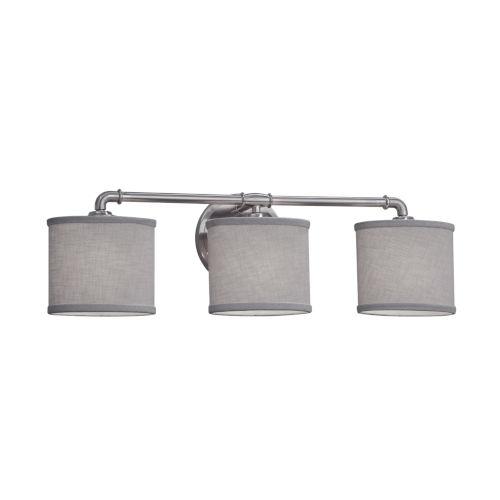 Textile Bronx Brushed Nickel and Gray Three-Light Bath Vanity with Oval Shade