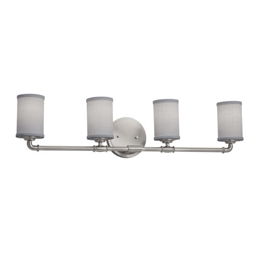 Textile Bronx Brushed Nickel and Gray Four-Light Bath Vanity