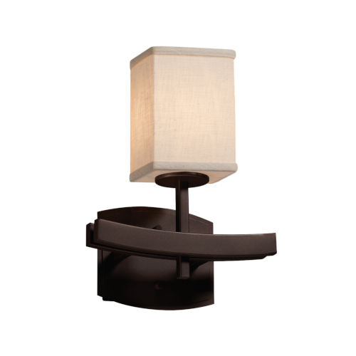 Textile Dark Bronze and Cream One-Light Wall Sconce