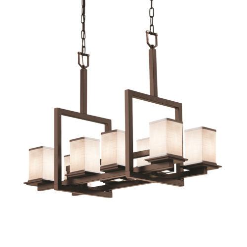 Textile Dark Bronze and White 11-Light Chandelier