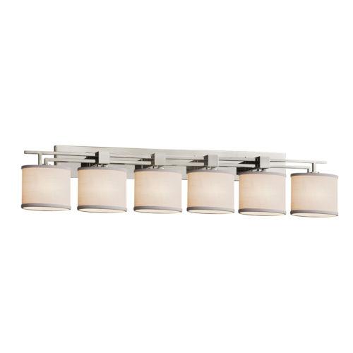 Textile Aero Brushed Nickel and White Six-Light LED Bath Vanity