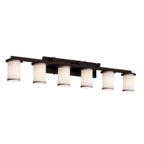 Textile Dark Bronze and White Six-Light LED Bath Vanity