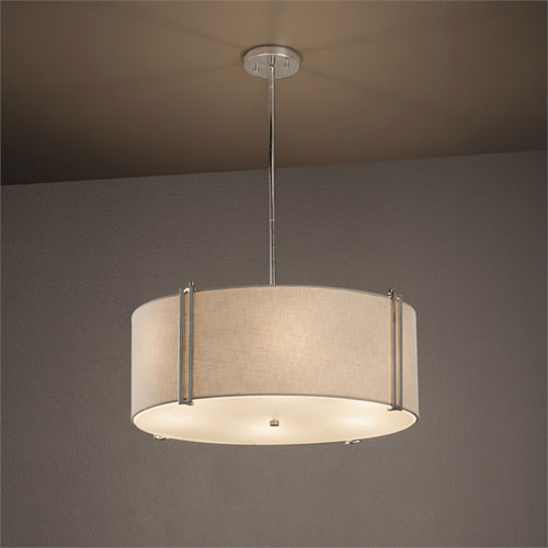 Textile Reveal Brushed Nickel 24 Inch Six Light Drum Pendant With White Shade
