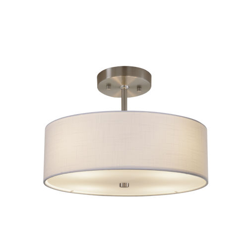 Textile Brushed Nickel and White Two-Light Pendant