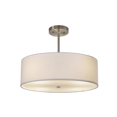 Textile Brushed Nickel and White Three-Light Pendant