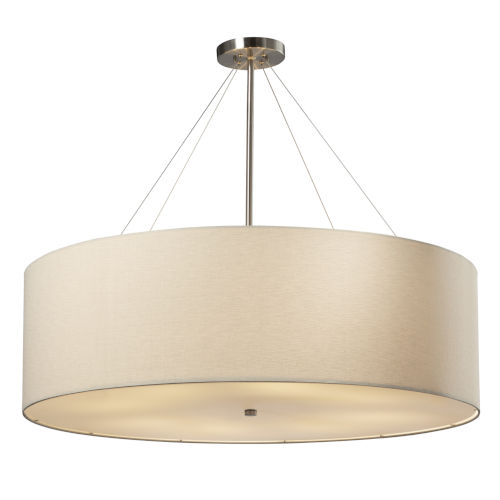 Textile Classic Brushed Nickel and Cream Eight-Light LED Pendant