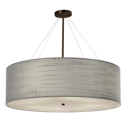 Textile Classic Dark Bronze and Gray Eight-Light Pendant