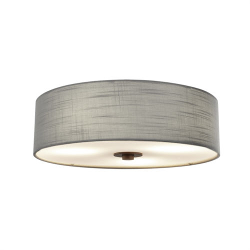 Textile Dark Bronze and Gray Three-Light Flush Mount