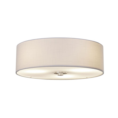 Textile Brushed Nickel and White Three-Light Flush Mount