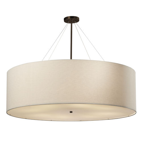 Textile Classic Dark Bronze and Cream Eight-Light Drum Pendant