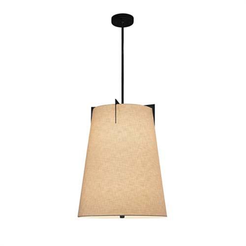 Textile - Midtown Matte Black Three-Light LED Drum Pendant with Cream Shade