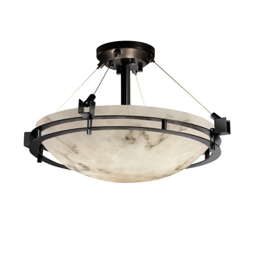LumenAria Matte Black Three-Light LED Semi-Flush Mount