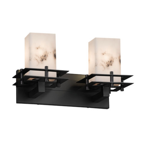 LumenAria Matte Black Two-Light LED Bath Vanity