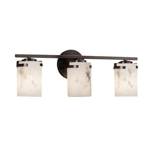 LumenAria - Atlas Dark Bronze Three-Light LED Bath Bar with Cylinder Flat Rim Faux Alabaster Shade