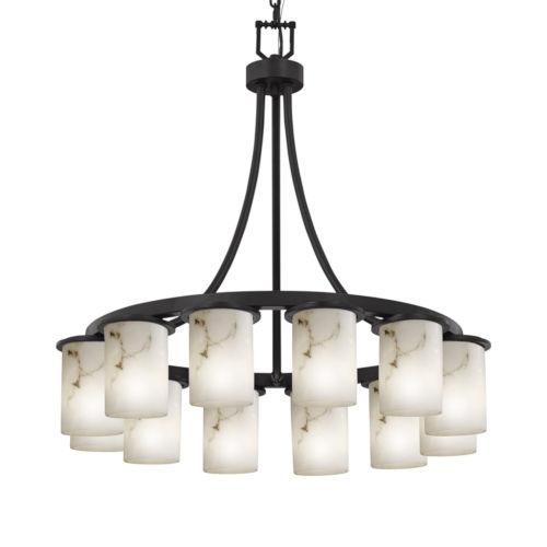LumenAria Matte Black 12-Light LED Chandelier