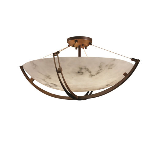 LumenAria Crossbar Dark Bronze Six-Light LED Semi-Flush Mount