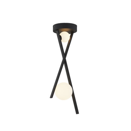 Fusion Stix Matte Black Two-Light LED Pendant with Opal Glass Shade