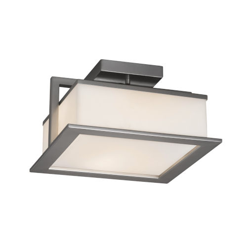 Justice Design Group Fusion Brushed Nickel 12 Inch Led Flush Mount With Opal Glass Fsn 7517w Opal Nckl Bellacor