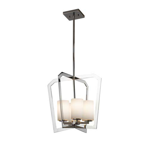 Fusion - Aria Polished Chrome Four-Light LED Chandelier with Cylinder Flat Rim Opal Shade