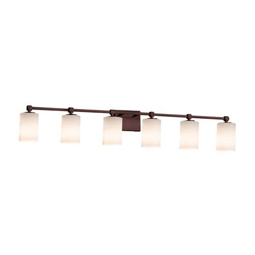 Fusion - Tetra Dark Bronze Six-Light Bath Bar with Cylinder Flat Rim Opal Shade