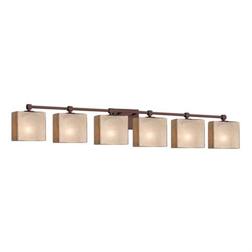 Fusion - Tetra Matte Black Six-Light Bath Bar with Rectangle Ribbon Shade