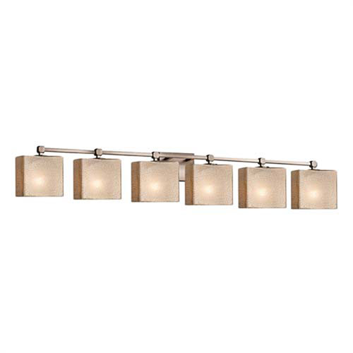 Fusion - Tetra Brushed Nickel Six-Light LED Bath Bar with Rectangle Mercury Glass Shade