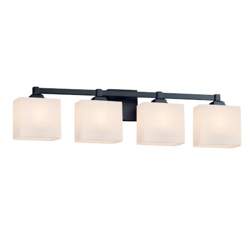 Fusion Regency Matte Black Four-Light LED Bath Vanity