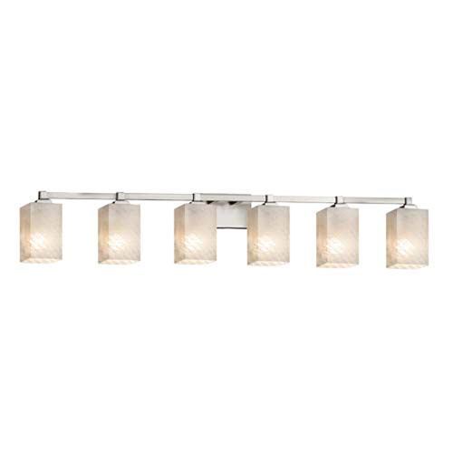 Fusion - Regency Brushed Nickel Six-Light Bath Bar with Square Flat Rim Weave Shade