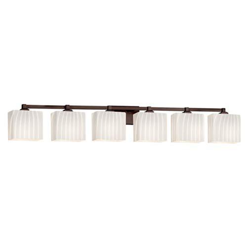 Fusion - Regency Dark Bronze Six-Light LED Bath Bar with Rectangle Ribbon Shade