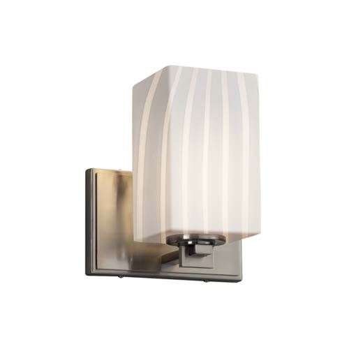 Fusion - Era Brushed Nickel One-Light Wall Sconce with Square Flat Rim Ribbon Shade