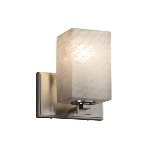 Fusion - Era Brushed Nickel One-Light Wall Sconce with Square Flat Rim Weave Shade