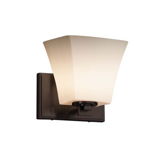 Fusion - Era Matte Black LED LED Wall Sconce with Square Flared Opal Shade