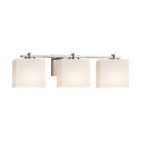 Fusion - Era Polished Chrome Three-Light Bath Bar with Rectangle Opal Shade
