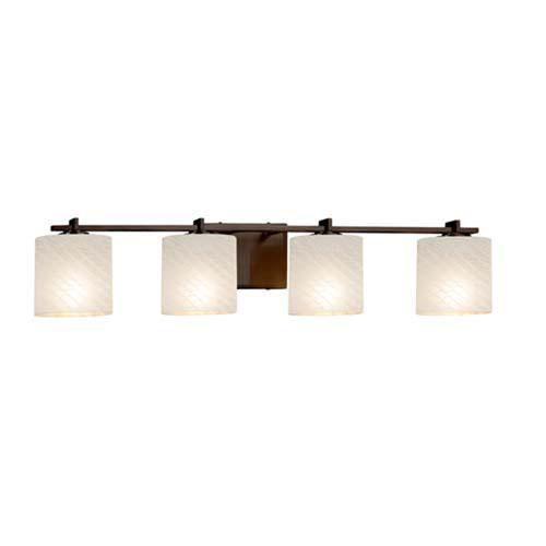 Fusion - Era Dark Bronze Four-Light LED Bath Bar with Oval Weave Shade