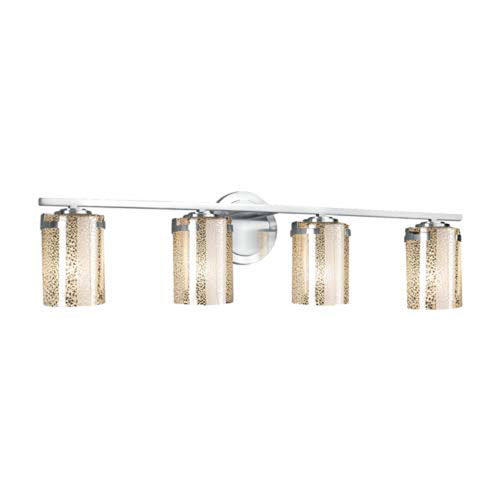 Fusion - Atlas Matte Black Four-Light Bath Bar with Cylinder Flat Rim Weave Shade