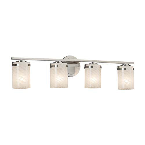 Fusion - Atlas Brushed Nickel Four-Light Bath Bar with Cylinder Flat Rim Weave Shade