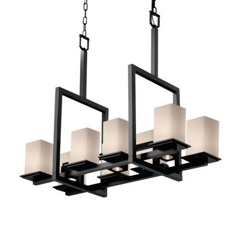 Fusion Matte Black Three-Light LED Chandelier