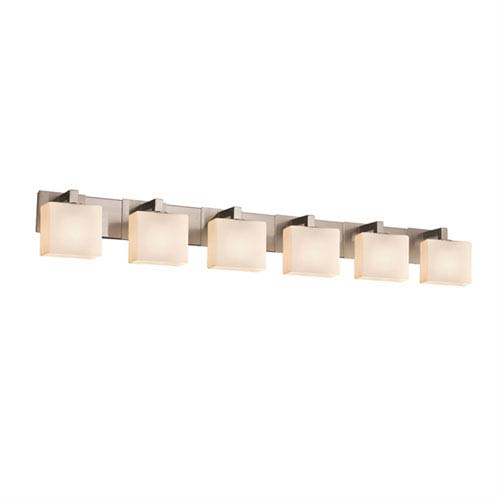 Fusion Brushed Nickel 55-Inch Six-Light Bath Sconce with Opal Glass
