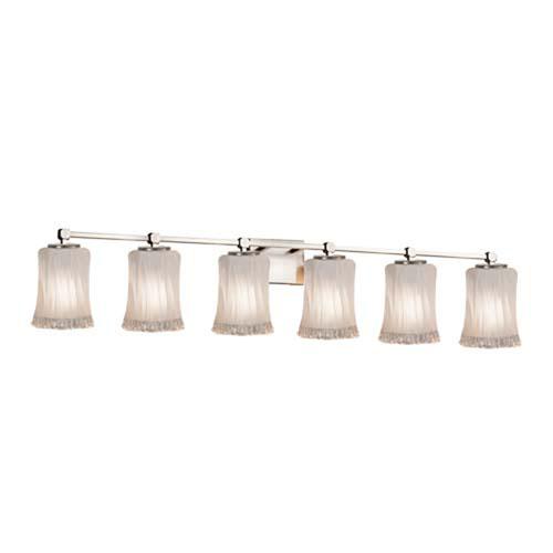Veneto Luce - Tetra Brushed Nickel Six-Light LED Bath Bar with Cylinder Rippled Rim White Frosted Shade