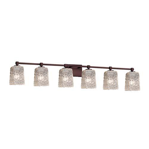 Veneto Luce - Tetra Dark Bronze Six-Light LED Bath Bar with Square Rippled Rim Clear Textured Shade