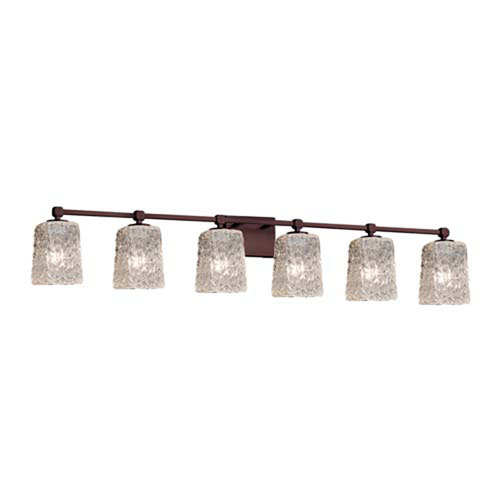 Veneto Luce - Tetra Polished Chrome Six-Light LED Bath Bar with Square Rippled Rim Clear Textured Shade