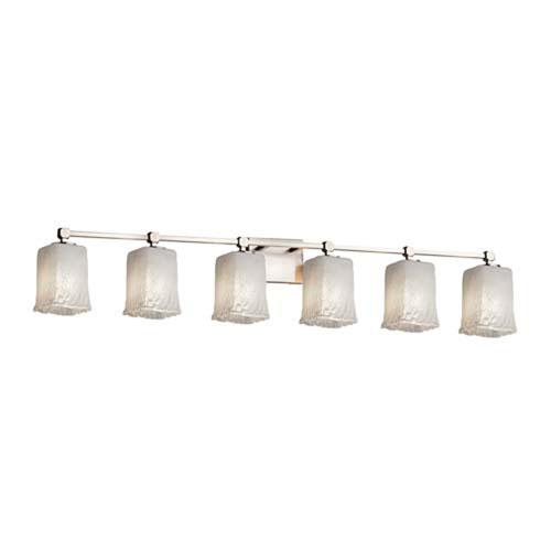 Veneto Luce - Tetra Brushed Nickel Six-Light LED Bath Bar with Square Rippled Rim Whitewash Shade