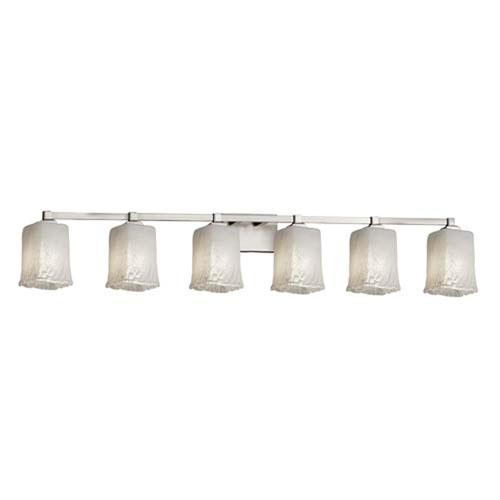 Veneto Luce - Regency Brushed Nickel Six-Light LED Bath Bar with Square Rippled Rim Whitewash Shade