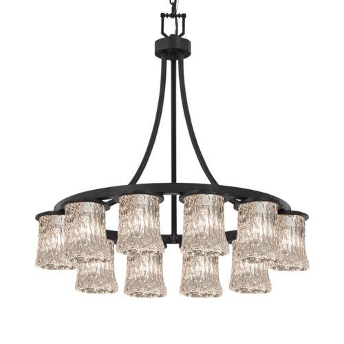 Veneto Luce Matte Black 12-Light LED Chandelier