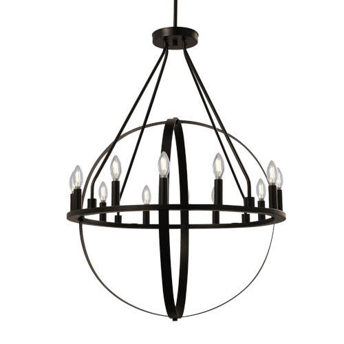 Orbit Dark Bronze 12-Light Chandelier