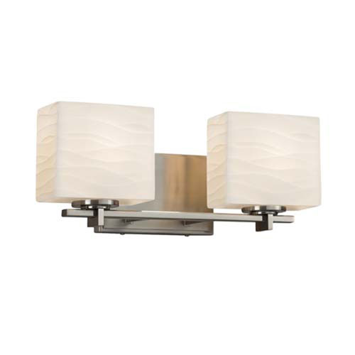 Porcelina - Era Brushed Nickel Two-Light Bath Bar with Rectangle Waves Shade